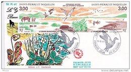 L4P173 SAINT PIERRE MIQUELON 1987 FDC Triptyque Le Grand Barachois 3,00 3,00f Saint-Pierre 16 12 1987 /envel.  Illus. - FDC