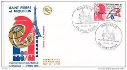 L4P183 SAINT PIERRE MIQUELON 1988 Liberté FDC Philexfrance 2,20f Saint-Pierre 25 07 1988/envel.  Illus. - 1982-90 Liberté De Gandon