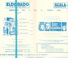 Pub Reclame Ciné Cinema Bioscoop - Eldorado - Acropole - Scala Ambassador - Bruxelles 1958 - Cinema Advertisement