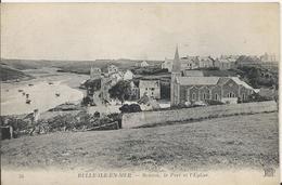 Carte Postale Ancienne De Belle Ile En Mer Souzon Le Port Et L'église - Belle Ile En Mer