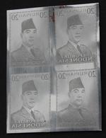 KPI-92.INDONESIE PRESIDENT SOEKARNO 1951, Block 4, 20R , Piece Of Printing Plate! Rare!!! - Indonesia
