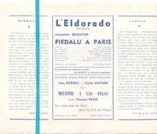 Pub Reclame Ciné Cinema Bioscoop Film Programme - Eldorado - Bruxelles - Piedula à Paris - Cinema Advertisement