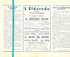 Pub Reclame Ciné Cinema Bioscoop Film Programme - Eldorado - Bruxelles - Le Printemps Chante - Publicité Cinématographique