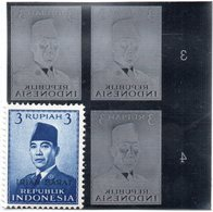 KPI-86.INDONESIE PRESIDENT SOEKARNO 1951, Block 4, 3R , Piece Of Printing Plate! Rare!!! - Indonesia