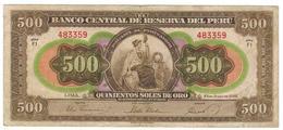 Peru 500 Soles De Oro , 1952. P-74. F/VF. - Peru