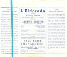 Pub Reclame Ciné Cinema Bioscoop Film Programme - Eldorado - Bruxelles - L'Ingenue Libertine - Cinema Advertisement