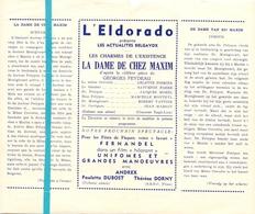 Pub Reclame Ciné Cinema Bioscoop Film Programme - Eldorado - Bruxelles - La Dame De Chez Maxim - Cinema Advertisement