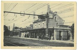 CPA ATHIS MONS - La Gare - Animée - Ed. La Cigogne N°42 - Athis Mons