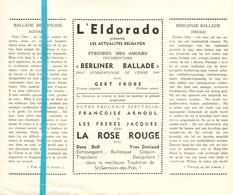 Pub Reclame Ciné Cinema Bioscoop Film Programme - Eldorado - Bruxelles - Berliner Ballade - Publicité Cinématographique
