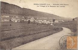 BOIS D'AMONT . Alt 1050 M - LE VILLAGE ET LE HAMEAU DES LANDES . AFFR LE 29-8-1923  + CACHET & TIMBRE TAXE AU VERSO .2 S - France