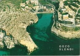"Gozo (Malta) Xlendi, Veduta Aerea, Aerial View, Vue Aerienne, Luftansicht, Francobollo ""Tennis"" Umoristico - Malte"