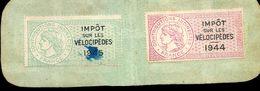 Timbres Fiscaux - Lot De 2 Timbres Contributions Indirectes -  Impôt Sur Les Vélocipèdes 1944 1945 - Autres - Europe