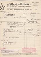 Autriche Facture 22/9/1910 PHOTO UNION Ica Akt Aes Dresden   WIEN - Photographie Caméra - Autriche