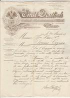 Autriche Facture Lettre Illustrée 9/3/1909 Emil DEUTSCH Raucherartikel WIEN - étuis Cigarettes Tabac ... - Autriche