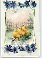 51893854 - Kueken Blumen - Pâques