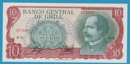 CHILE 10 ESCUDOS ND (1970) Serie# B13 0970382 P# 142Aa José Manuel Balmaceda - Chili