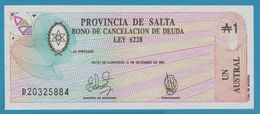 ARGENTINA - Salta 1 Austral 31.12.1987 P# S2612e Bono De Cancelación De Deuda - Argentine