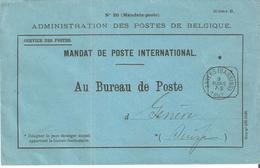 MANDAT POSTE INTERNATIONAL Cad. ANVERS(Bassins) Du 3 Mars 1897 V/GENEVE. - 1893-1900 Schmaler Bart