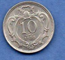 Autriche  -  10 Heller 1893 --  Km # 2802  -  état  TTB - Autriche