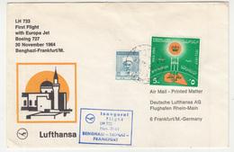 Libya, Lufthansa First Flight With Europa Jet Boeing 727 Benghazi - Frankfurt Letter Cover Travelled 1964 B190120 - Airplanes