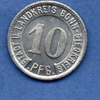 Allemagne    -  Stadt Bonn  - 10 Pfennig 1919  -  état  SUP - Monétaires/De Nécessité