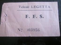 F.F.S Fédération Française De Ski Téléski  Ticket Année 50-60--1 Billet Titre De Transport Au Ski à La Neige Par Téléski - Titres De Transport