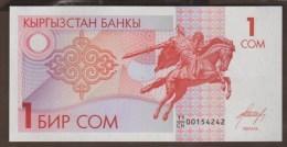 "KYRGYZSTAN  1 SOM ND (1993) SERIAL 11/CH   UNC   ""Equestrian Statue"" - Kirghizistan"