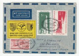 DDR, Postsegelflug Zwickau - Karl-Marx Stadt Letter Cover Travelled 1957 B190120 - Airplanes