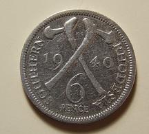 Southern Rhodesia 6 Pence 1940 Silver - Rhodésie