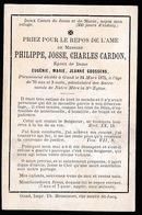 ADEL NOBLESSE -  PHILIPPE CARDON  GENT 1875   70 JAAR OUD - Avvisi Di Necrologio