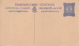 India   Travancore - Cochin  4Pies  Elephant  Post Card   # 16830  D  Inde Indien - Travancore-Cochin