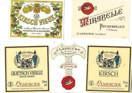 Lot De 5 étiquettes Kirsch / 70 FOUGEROLLES / Distillateurs LEMERCIER, LARRIERE, SERVAIN - Other