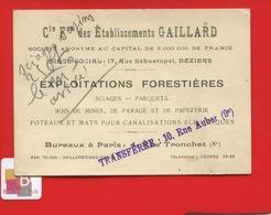 BEZIERS établissements Gaillard Exploitation Forestière Bois Parquet Poteau Canalisations électriques Carte Représentant - Visiting Cards