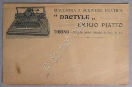 Pubblicità - Macchina Da Scrivere Dactyle - Emilio Piatto Torino Primi '900 - Publicités