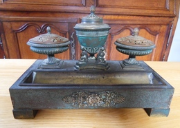 """Garniture De Bureau  ( Encrier , Porte Plume,  """"vide Poche""""   Empire Bronze Patine Verte  Et Laiton Dans Son Jus ! - Inkwells"""
