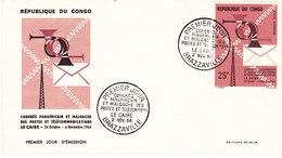 CONGO 1964 FDC CONGRES DES PTT Yvert PA 25 - FDC