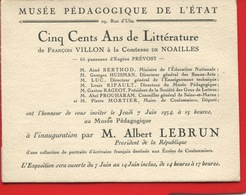 Musée Pédagogique De L'État Rue Ulm Paris Carte D'invitation Inauguration Président République Lebrun 1934 Littérature - Mitteilung