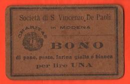 Modena Opere San Vincenzo BUONI CARITATEVOLI Da 1 Lira  Wohltätiges Gut Bienfaisance Sant'Antonio - Italie