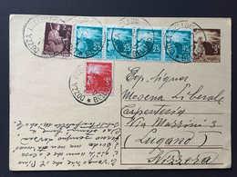Italia,  DOZZA 1947 Intero Postale Repubblica 3 Lire Diretto A Svizzera, Affrancato Con 6 Francobolli Lugano Suisse - Interi Postali