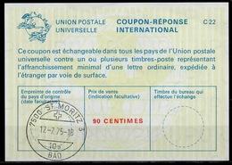 7500 ST. MORITZ 3 BAD 17.7.75  International Reply Coupon Reponse IAS IRC Antwortschein Schweiz Suisse Switzerland La22A - Stamped Stationery