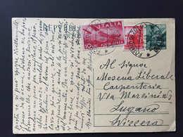 Italia,  FORNO DI ZOLDO 1949 Intero Postale Repubblica 12 Lire Diretto A Svizzera, Affrancato  3 + 10 Lire Lugano Suisse - Interi Postali