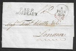 1829 - LAC - P.32.P BORDEAUX Pour LONDRES, ANGLETERRE - Postmark Collection (Covers)