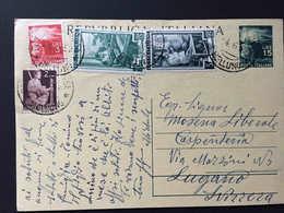 Italia,  DOZZA BELLUNESE 1952 Intero Postale Repubblica 15 Lire Diretto A Svizzera, + Italia Al Lavoro, Lugano - Interi Postali
