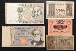 5 Banconote Da 50 CENT A 1000 LIRE LOTTO 285 - [ 1] …-1946 : Koninkrijk