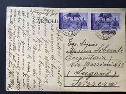 Italia,  FORNO DI ZOLDO 1946 Repubblica Di Pisa 2 X 5 Lire Diretto A Svizzera, Lugano Suisse, Intero Postale - 1946-60: Storia Postale