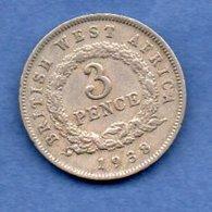 British West Africa  -  3 Pence 1938   - Km#  21  -  état  TB+ - Colonies