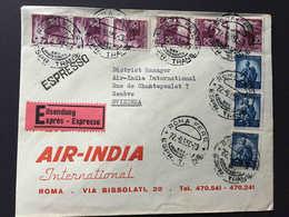 Italia,  ROMA 1950, 9 Francobolli REPUBBLICA, Busta AIR INDIA, ESPRESSO Diretta A Svizzera, Genève Suisse - 6. 1946-.. Republic