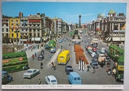 DUBLIN - EIRE - O'Connell Street Showing Nelson's Pillar - Many Cars Bus Animated Guinness Beer Harp Lager  Vg - Dublin