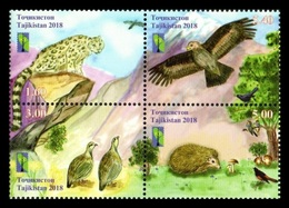 Tajikistan 2018 Mih. 815/18 Nature Reserves. Space. Fauna. Birds. Hedgehog. Leopard. Mushrooms (RCC Joint Issue) MNH ** - Tadjikistan