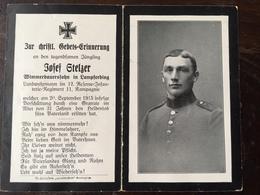 Sterbebild Wk1 Ww1 Bidprentje Avis Décès Deathcard RIR12 Verschüttung 20. September 1915 Aus Lampferding - 1914-18